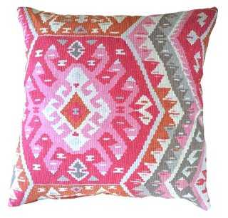 Suna 20x20 Pillow, Pink, Feather/down insert - One Kings Lane