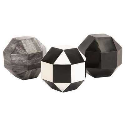 Nikki Chu 3 Piece Harris Geometric Bone Ball Sculpture Set - AllModern