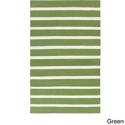 Melun Flatweave 100-percent Wool Striped Area Rug (5' x 8') - Overstock
