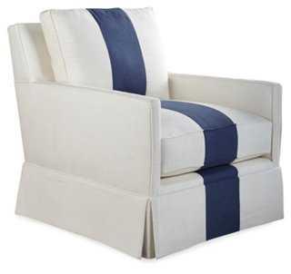 Avon Skirted Club Chair, White/Indigo - One Kings Lane