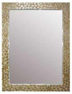 "35""x47"" Capiz Shell Inlay Mirror, Gold - One Kings Lane"