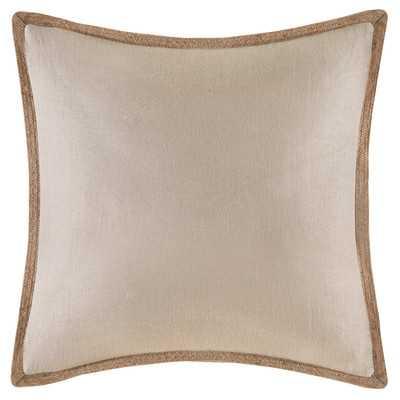 Trim Linen Throw Pillow - Beige - 20x20 - With Insert - Wayfair
