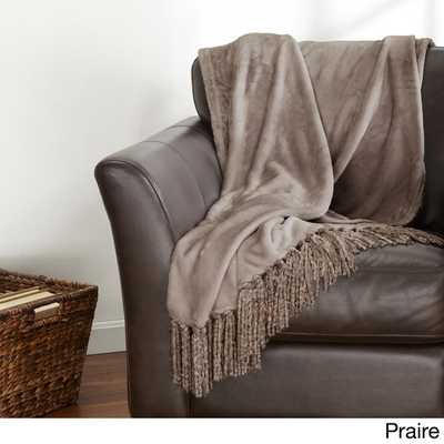 Danya Collection Ultra Plush Printed Fringed Throw - Overstock