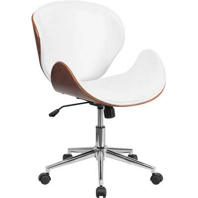 Mid-Back Leather Conference Chair with Swivel - Natural / White - Wayfair
