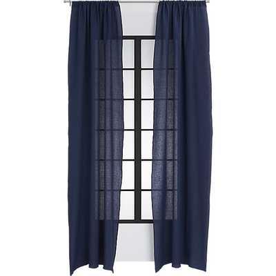 "French-Belgian navy linen curtain panel 48""x108"" - CB2"