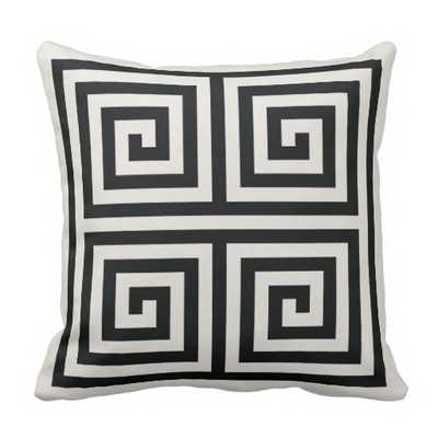 "Chic black and white greek key geometric patterns pillow, 16""Sq, synthetic-filled insert - zazzle.com"