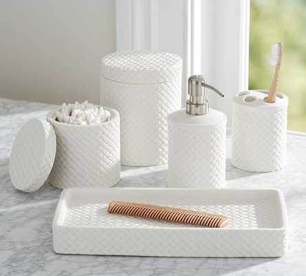 PORCELAIN BASKETWEAVE ACCESSORIES - Small Canister - Pottery Barn