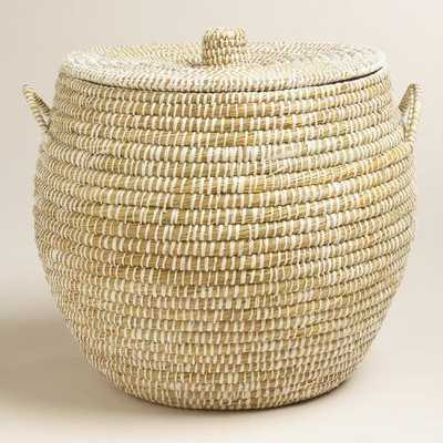 Large White Round Piper Tote Basket with Lid - World Market/Cost Plus