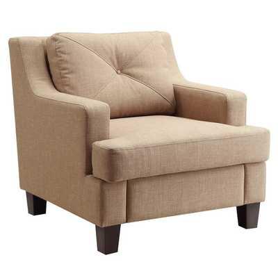 INSPIRE Q Elston Linen Sloped Track Arm Chair-Light Brown - Overstock