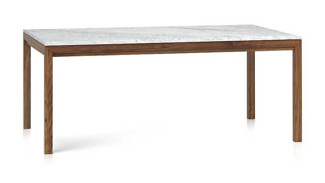 Marble Top/ Elm Base 72x42 Dining Table - Crate and Barrel