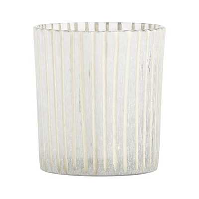 Minx Striped Frosted Glass Votive Candle Holder - Crate and Barrel