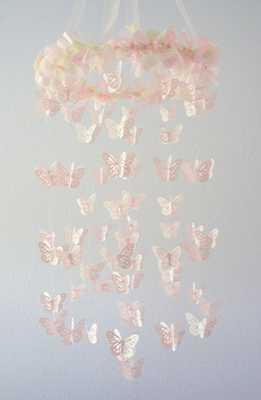 Pink Cream Nursery Butterfly Mobile, Nursery Decor - Etsy