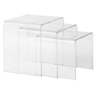 Burton 3-piece Clear Nesting Table Set - Overstock