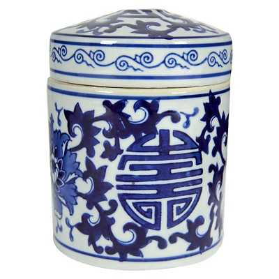 """Blue and White Tea Caddy - Multicolor (5""""x5.5"""") - Target"""