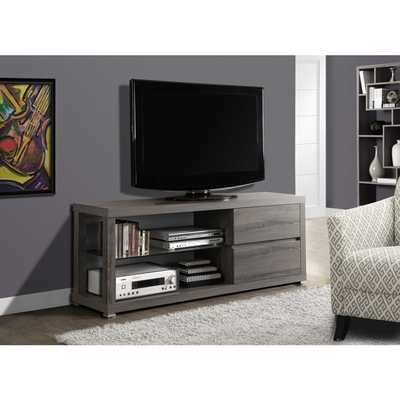 Dark Taupe Reclaimed-look 60-inch Tempered Glass TV Console - Overstock