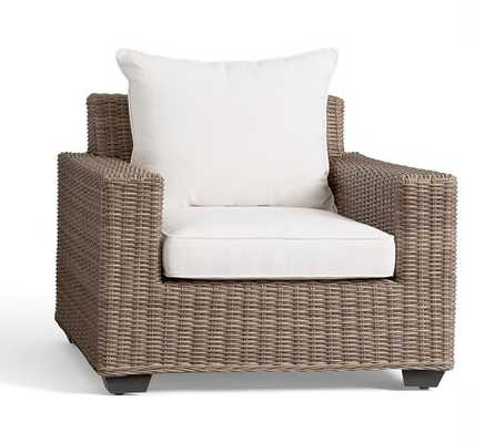 Torrey All-Weather Wicker Square Arm Occasional Chair - Natural - Pottery Barn