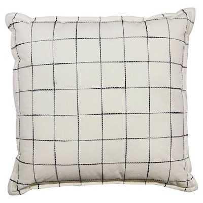"Gray Grid Pillow 18"" - Polyester Insert - Target"