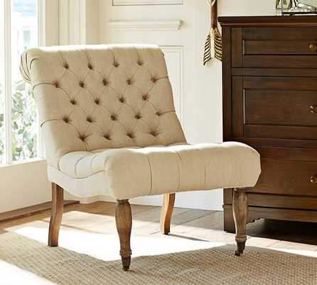 CAROLYN TUFTED SLIPPER CHAIR - Brushed Cotton Haze (not shown in pictures) - Pottery Barn