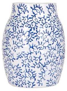 "12"" Beaufort Vase, Blue/White - One Kings Lane"