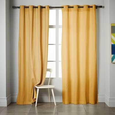 """Linen Cotton Grommet Curtain - 124"""" - West Elm"""