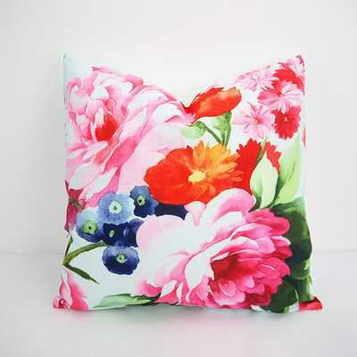 "Red Pink Floral Throw Pillow - 18"" x 18"" - Insert Sold Separately - Etsy"
