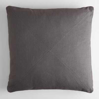 Herringbone Cotton Throw Pillow - Tornado Gray, 20x20, With Insert - World Market/Cost Plus