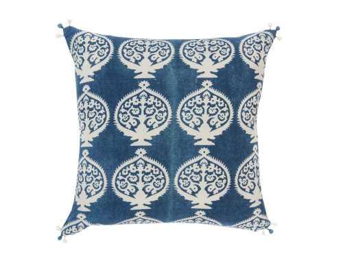 "Bukhara Indigo Pillow-20""Sq-with insert - Domino"
