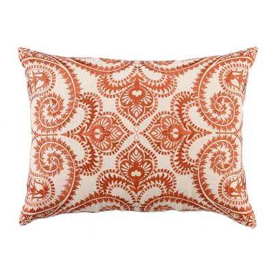 """Embroidered Amalfi Linen Lumbar Pillow- 14"""" H x 20"""" W x 5"""" D- Persimmon-  Down/Feather fill insert - Wayfair"""