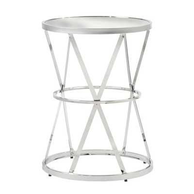Berke Mirrored Top Round End Side Table - Overstock