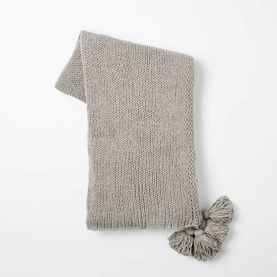 Cotton Tassel Throw - Platinum - West Elm
