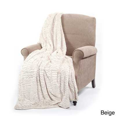 Air Brushed Faux Fur Throw - Beige - Overstock