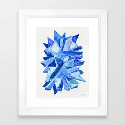 """Sapphire Watercolor Facets - 10"""" X 12"""" - Framed - Society6"""