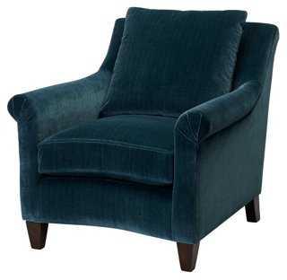 Emmet Velvet Club Chair, Teal - One Kings Lane