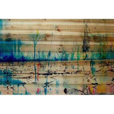"Morrison Lake - Art Print on Natural Pine Wood, 24""Hx36""W, Unframed - AllModern"