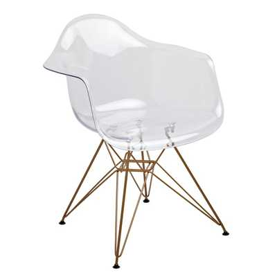 American Atelier Living Clear Seat Gold Legs Chair - Overstock