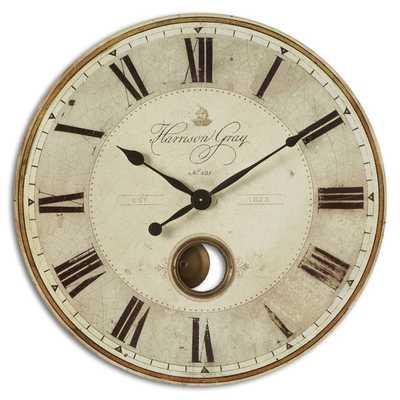 Uttermost 'Harrison' Grey 30-inch Wall Clock - Overstock