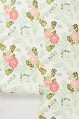 Watercolor Peony Wallpaper - Anthropologie