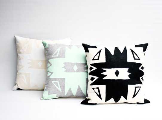 Pinnacle - black and natural, hand printed organic pillow, 16x16 - Etsy