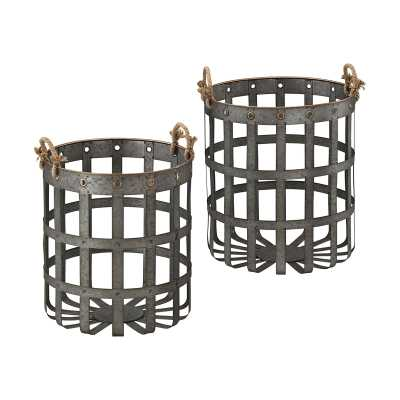 Caxton Baskets In Aged Iron With Gold Highlights - Rosen Studio