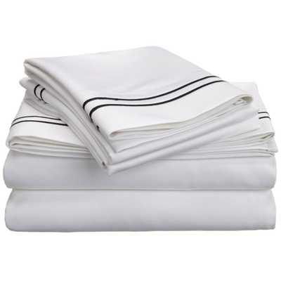 Luxor Treasures Egyptian Cotton 800 Thread Count Two-tone Embroidered Sheet Set - Overstock