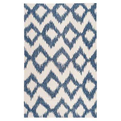 Frontier Mediterranean Blue/Winter White Ikat Area Rug - 8' x 11' - Wayfair