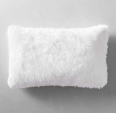 """ULTRA FAUX FUR PILLOW COVER - WHITE - LUMBAR - 13"""" X 21"""" - without insert - RH"""