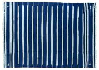 Blue & White Striped Dhurrie - One Kings Lane