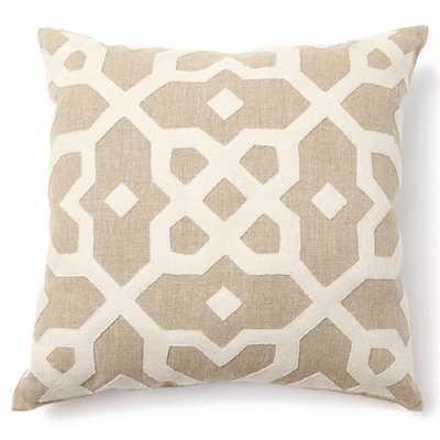 "Provence Tiara Wool App Throw Pillow-  Beige-  18"" H x 18"" W- Down/Feather insert - Wayfair"