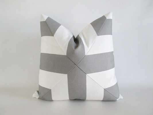"Pillow Cover Mitered Cross- Grey and white- 18"" x 18""- Without insert - Etsy"