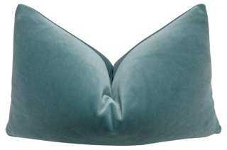 """Tiffany Belgian Velvet Pillow - 20""""  x 12"""" , down/feather insert - One Kings Lane"""