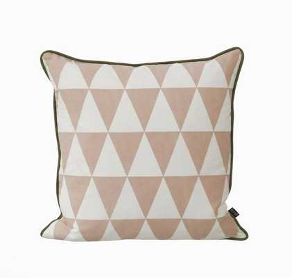 """Large Geometry Cushion - Rose - 19.7"""" L X 19.7"""" W - Feather and down insert - Domino"""