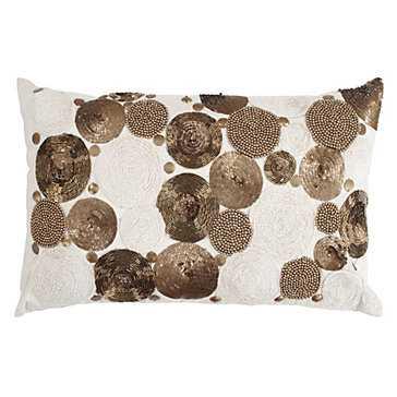 Portofino Pillow - Gold- 13''W x 21''H  - Feather/Down insert - Z Gallerie