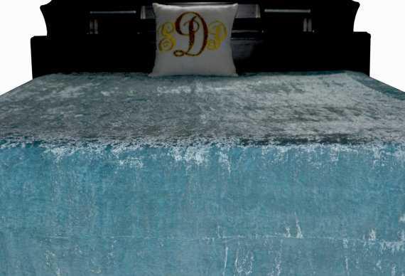 Sky Blue Bed Cover Velvet Couture Bed Linen - King - Etsy