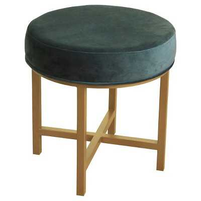 Circle Ottoman with Gold Metal X-Base- HomePop - Whale Blue - Target